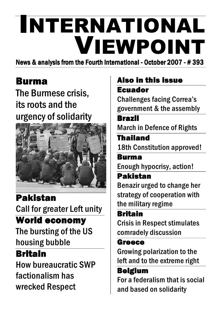 INTERNATIONAL      VIEWPOINT News & analysis from the Fourth International - October 2007 - # 393 News                    ...