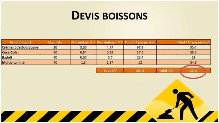 DEVIS BOISSONS