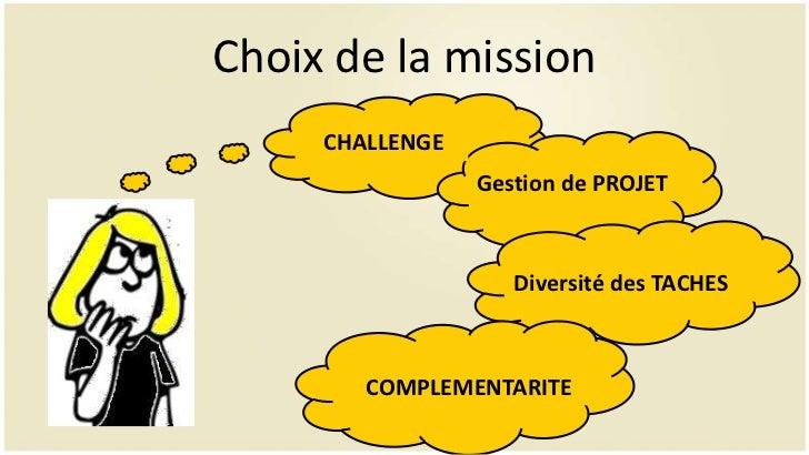 Choix de la mission     CHALLENGE                 Gestion de PROJET                    Diversité des TACHES        COMPLEM...