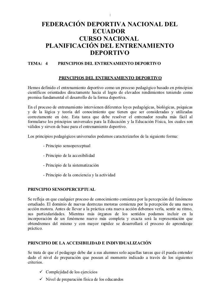 1       FEDERACIÓN DEPORTIVA NACIONAL DEL                    ECUADOR                CURSO NACIONAL        PLANIFICACIÓN DE...
