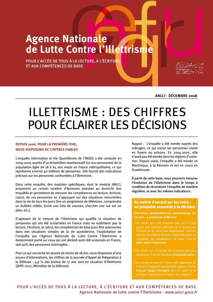 Agence Nationale        de Lutte Contre l'Illettrisme        POuR L'ACCès DE TOus à LA LECTuRE, à L'éCRiTuRE        ET AuX...