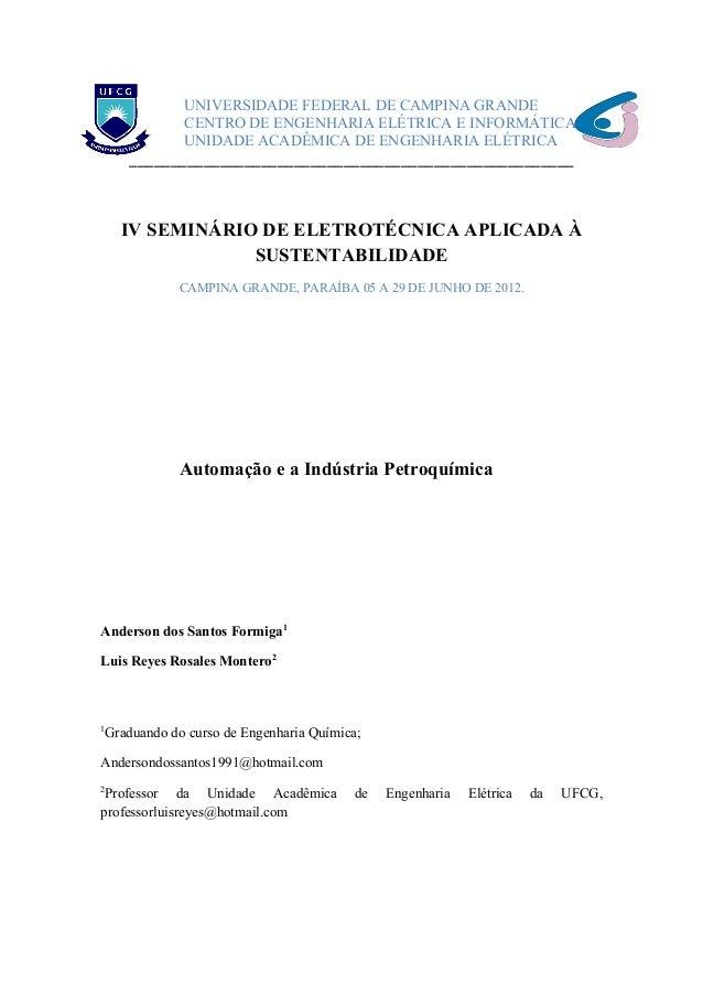 UNIVERSIDADE FEDERAL DE CAMPINA GRANDE CENTRO DE ENGENHARIA ELÉTRICA E INFORMÁTICA UNIDADE ACADÊMICA DE ENGENHARIA ELÉTRIC...