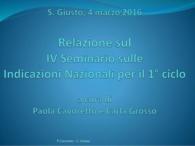 P. Cavoretto - C. Grosso