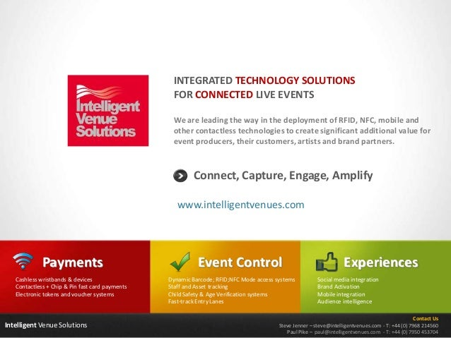 Intelligent Venue Solutions We are leading the way in the deployment of RFID, NFC, mobile and other contactless technologi...