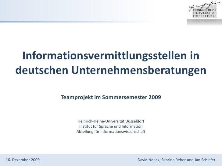 Informationsvermittlungsstellen in deutschen Unternehmensberatungen