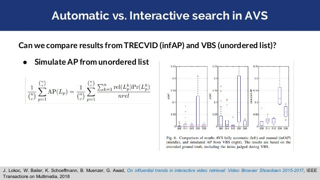 Automatic vs. Interactive search in AVS Can we compare results from TRECVID (infAP) and VBS (unordered list)? ● Get precis...