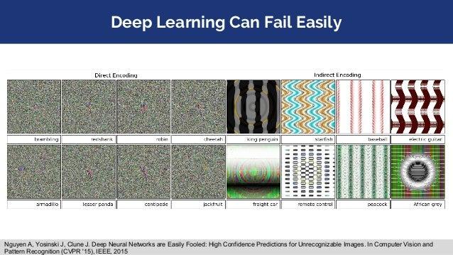 Deep Learning Can Fail Easily Nguyen A, Yosinski J, Clune J. Deep Neural Networks are Easily Fooled: High Confidence Predi...