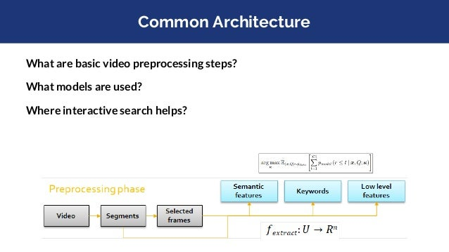 What are basic video preprocessing steps? What models are used? Where interactive search helps? Common Architecture