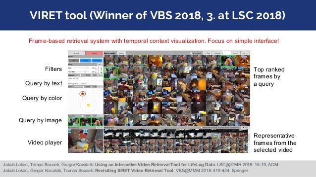 VIRET tool (Winner of VBS 2018, 3. at LSC 2018) Filters Query by text Query by color Query by image Video player Top ranke...