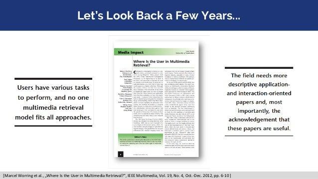 "Let's Look Back a Few Years... [Marcel Worring et al., ""Where Is the User in Multimedia Retrieval?"", IEEE Multimedia, Vol...."