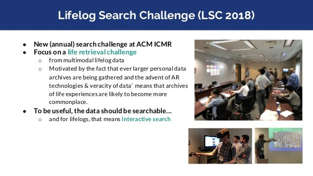 """Lifelog Search Challenge (Definition) Dodge and Kitchin (2007), refer to lifelogging as """"a form of pervasive computing, co..."""