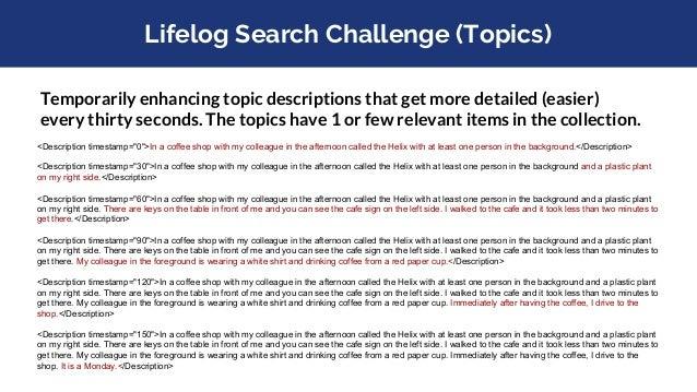Lifelog Search Challenge 2018 (Six Teams)