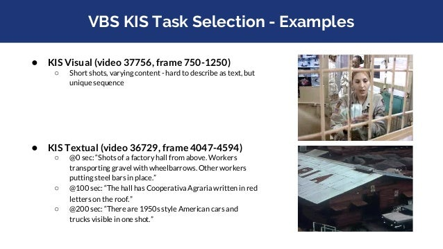 Presenting Queries (VBS) ● Example picture? ○ allow taking pictures of visual query clips? ● Visual ○ Play query once ■ on...