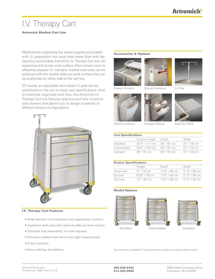 I.V. Therapy Cart Artromick Medical Cart Line     Methodically organizing the varied supplies associated         Accessori...