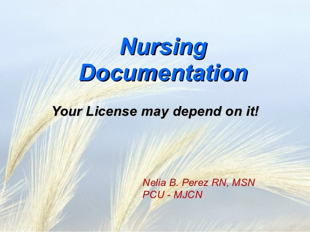 Nursing   DocumentationYour License may depend on it!             Nelia B. Perez RN, MSN             PCU - MJCN