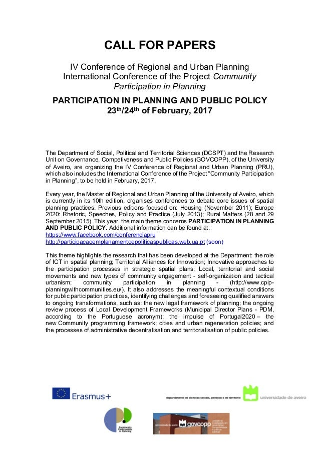 CALL FOR PAPERS IV Conference of Regional and Urban Planning International Conference of the Project Community Participati...