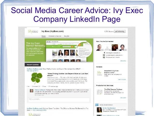 Social Media Career Advice: Ivy ExecCompany LinkedIn Page