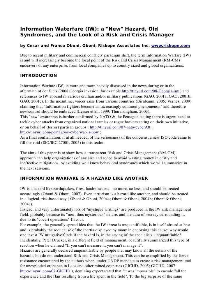 """Information Waterfare (IW): a """"New"""" Hazard, Old Syndromes, and the Look of a Risk and Crisis Manager  by Cesar and Franco ..."""