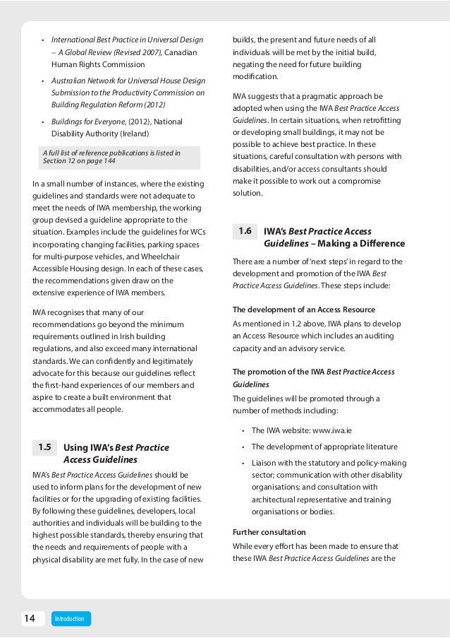 irish wheelchair association access guidelines