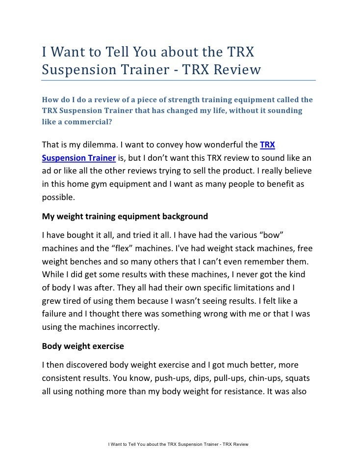 i want to tell you about the trx suspension trainer trx review rh slideshare net TRX Core Workout TRX Full Body Workout
