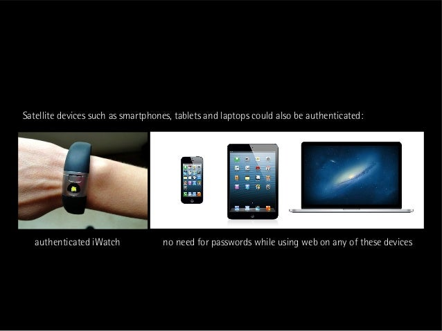 Satellite devices such as smartphones, tablets and laptops could also be authenticated:   authenticated iWatch            ...