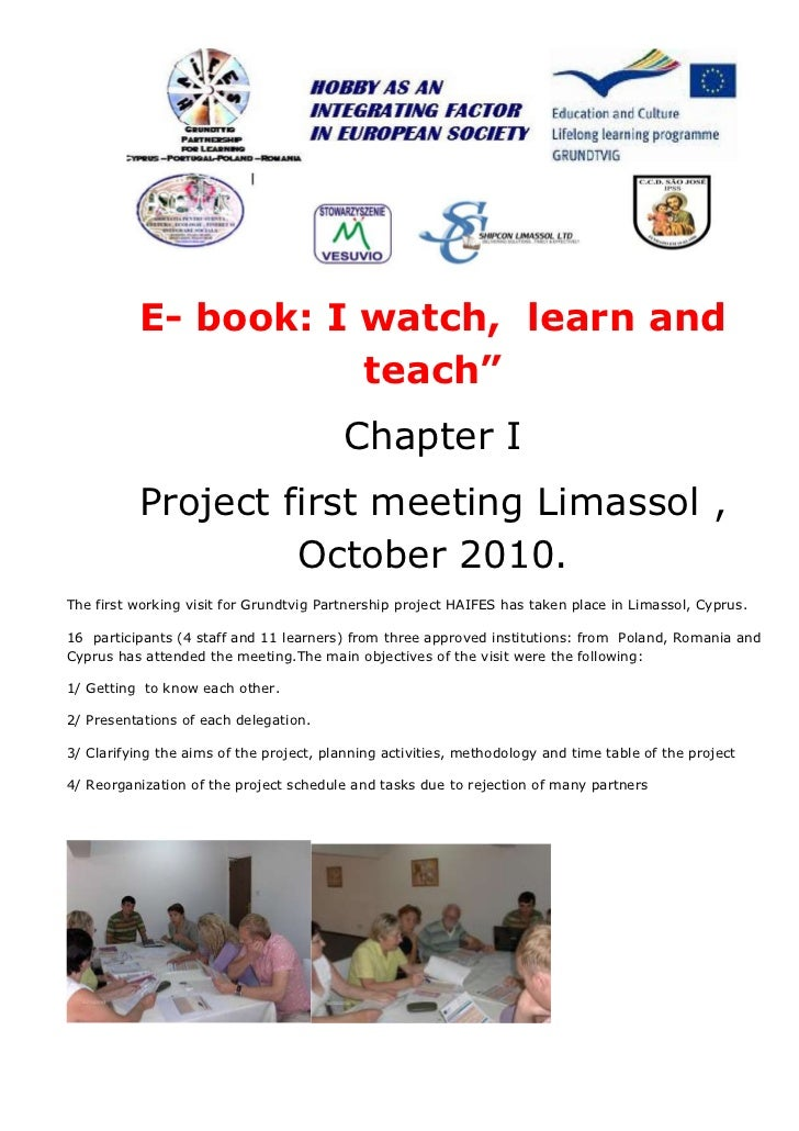 """E- book: I watch, learn and                     teach""""                                         Chapter I          Project ..."""