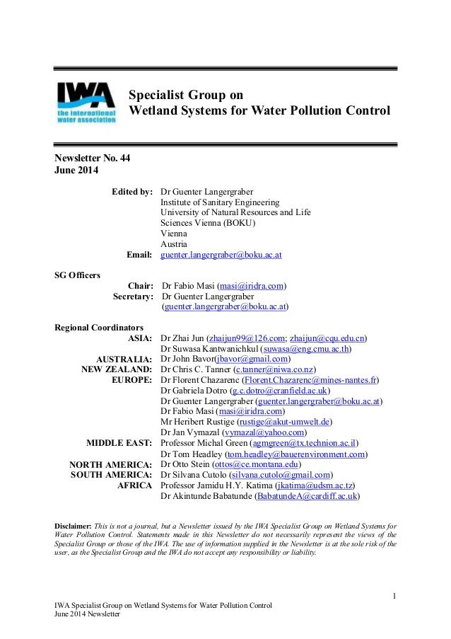 1 IWA Specialist Group on Wetland Systems for Water Pollution Control June 2014 Newsletter Specialist Group on Wetland Sys...