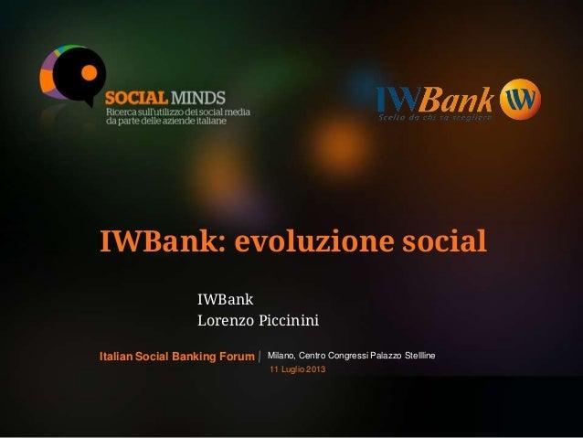 1LOGO BANCA PARTECIPANTE IWBank: evoluzione social IWBank Lorenzo Piccinini Milano, Centro Congressi Palazzo StelllineItal...