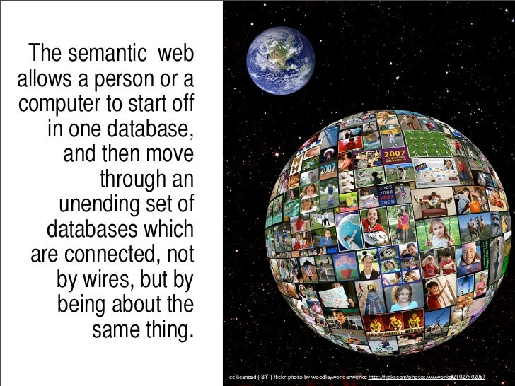 Rather than justidentifying keywordsand expressions, the       semantic web    concentrates on       identifying the meani...
