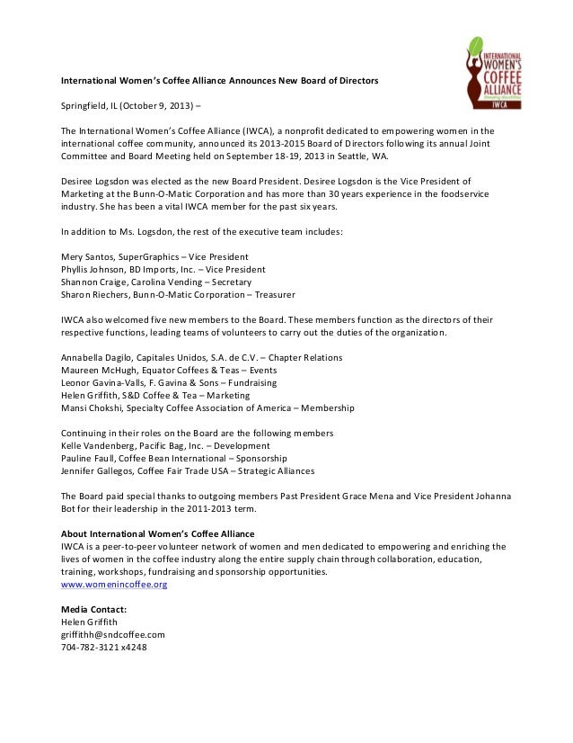 International  Women's  Coffee  Alliance  Announces  New  Board  of  Directors        Springfield,...