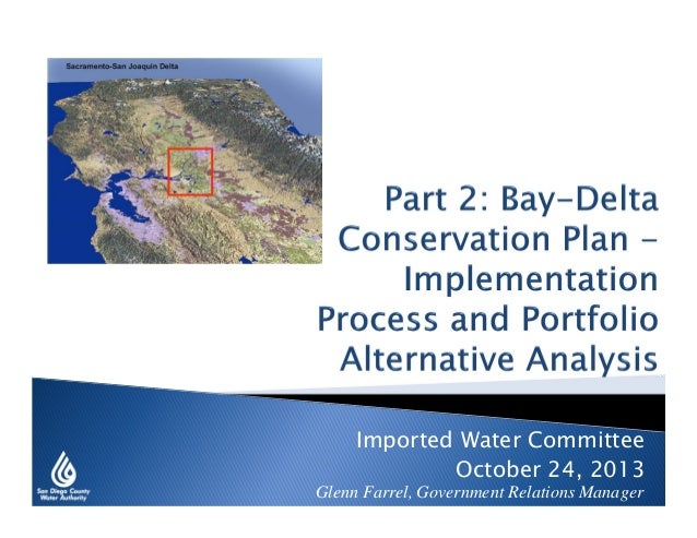 Imported Water Committee October 24, 2013  Glenn Farrel, Government Relations Manager