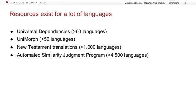 Resources exist for a lot of languages ● Universal Dependencies (>60 languages) ● UniMorph (>50 languages) ● New Testament...