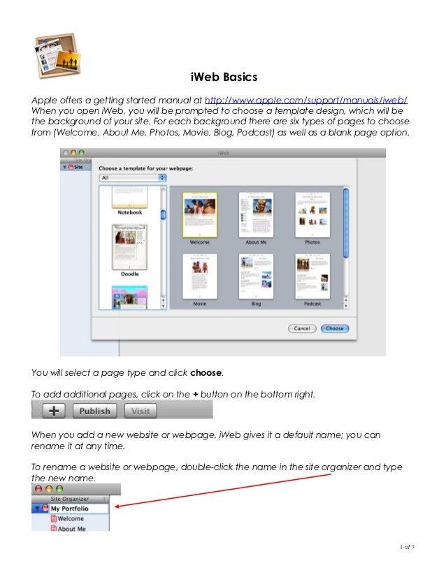 iWeb Quick Glance Cheat Sheet