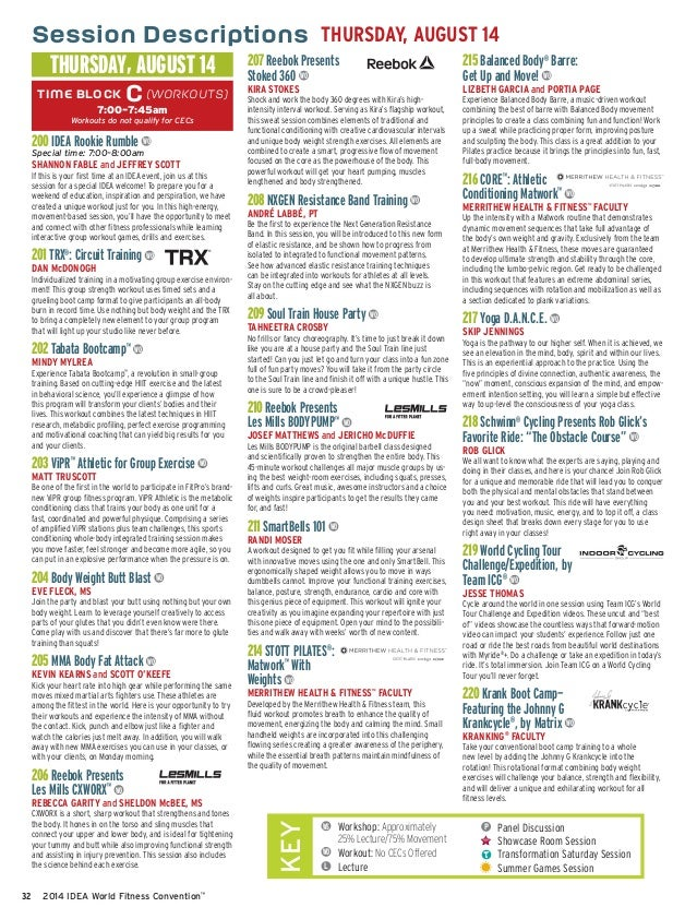 IDEA World Fitness Convention Brochure for August 2014 in Anaheim, Ca
