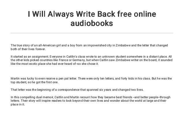 I Will Always Write Back free online audiobooks