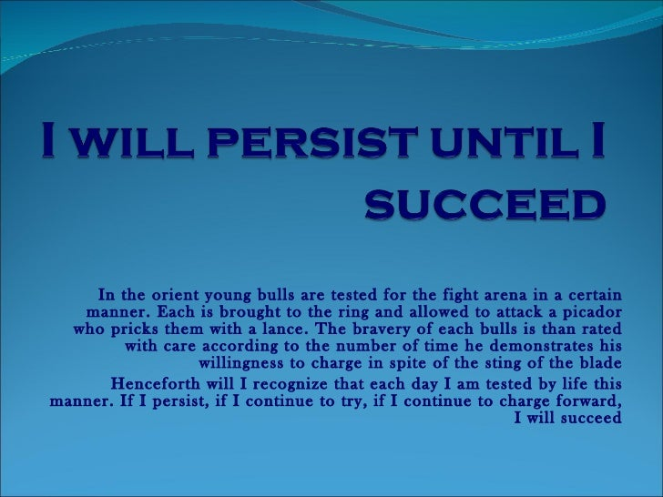 i persist until i succeed