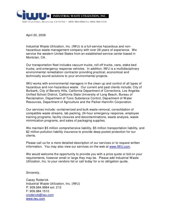 Iwu intro letter for Cover letter for introducing your company