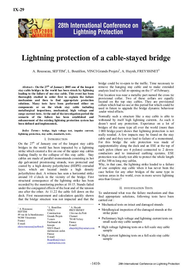 1Abstract-- On the 27thof January 2005 one of the longeststay cable bridges in the world has been struck by lightningleadi...