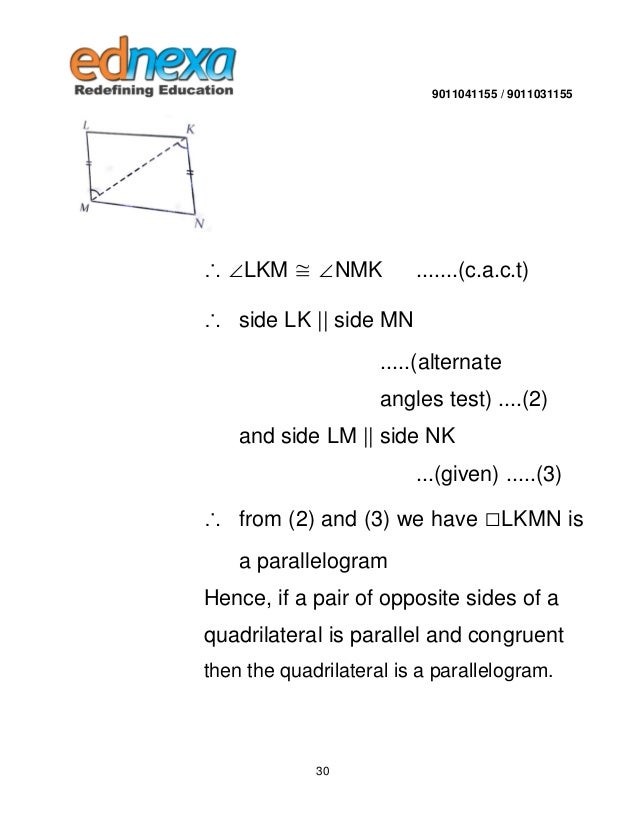 9th maths quadrilateral and its types sas test 29 30 ccuart Images
