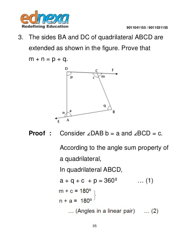 9th maths quadrilateral and its types 34 35 9011041155 9011031155 3 the sides ba and dc of quadrilateral abcd ccuart Images