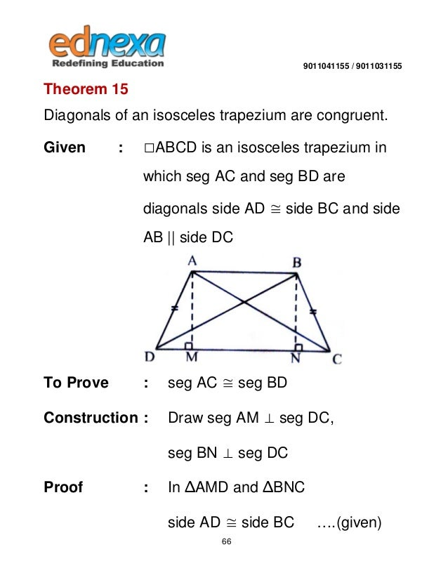 9th maths quadrilateral and its types 65 66 9011041155 9011031155 theorem 15 diagonals ccuart Images