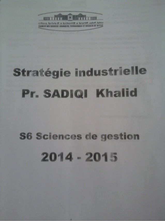 Cours Stratégie industrielle Mr sadiqi