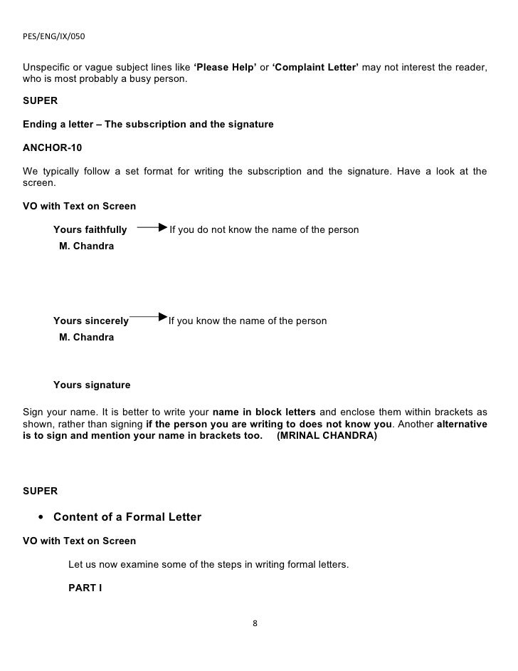 Letter Writing Format Subject Line.  8 Ix application and letter writing part 2 07 08 09r