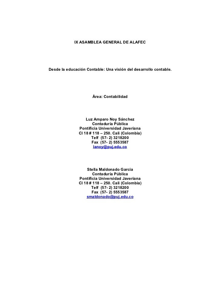 IX ASAMBLEA GENERAL DE ALAFECDesde la educación Contable: Una visión del desarrollo contable.                      Área: C...