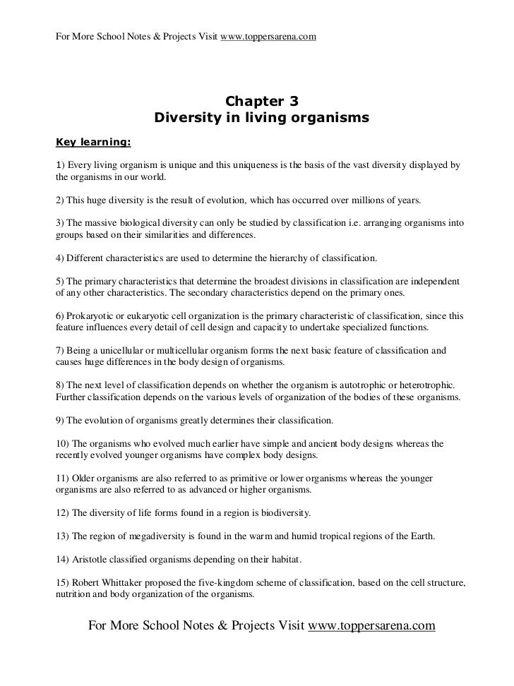 Diversity in living organisms class 9 notes