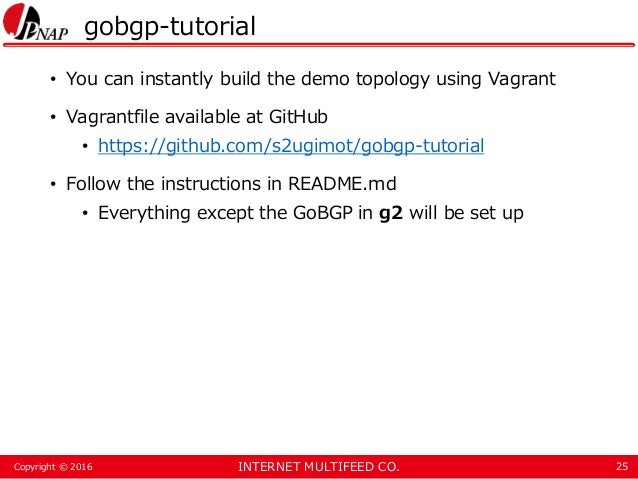 INTERNET MULTIFEED CO.Copyright © 2016 gobgp-tutorial • You can instantly build the demo topology using Vagrant • Vagrantf...