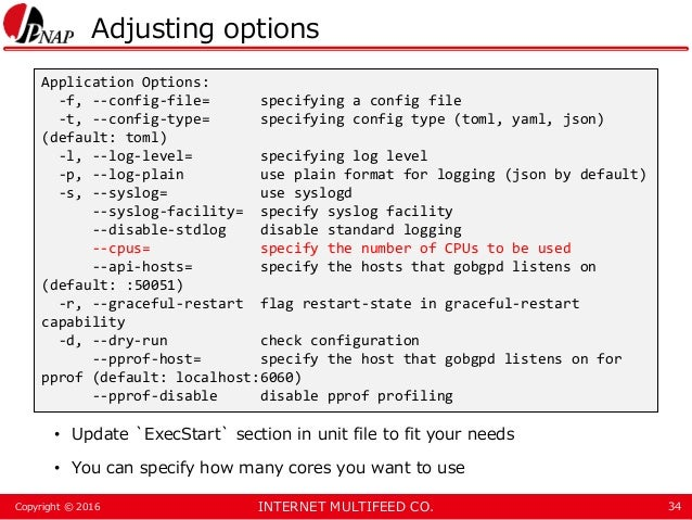 INTERNET MULTIFEED CO.Copyright © 2016 Adjusting options • Update `ExecStart` section in unit file to fit your needs • You...