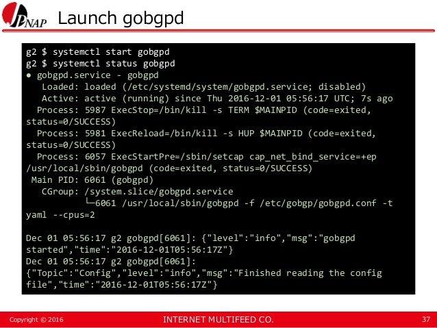 INTERNET MULTIFEED CO.Copyright © 2016 Launch gobgpd 37 g2 $ systemctl start gobgpd g2 $ systemctl status gobgpd ● gobgpd....