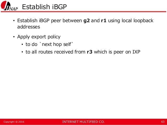 INTERNET MULTIFEED CO.Copyright © 2016 Establish iBGP • Establish iBGP peer between g2 and r1 using local loopback address...