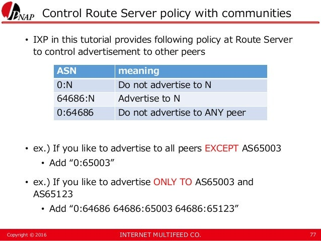 INTERNET MULTIFEED CO.Copyright © 2016 Control Route Server policy with communities • IXP in this tutorial provides follow...